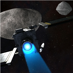 Caption: The DART spacecraft approaches Didymos A and B., Credit: NASA/JHUAPL