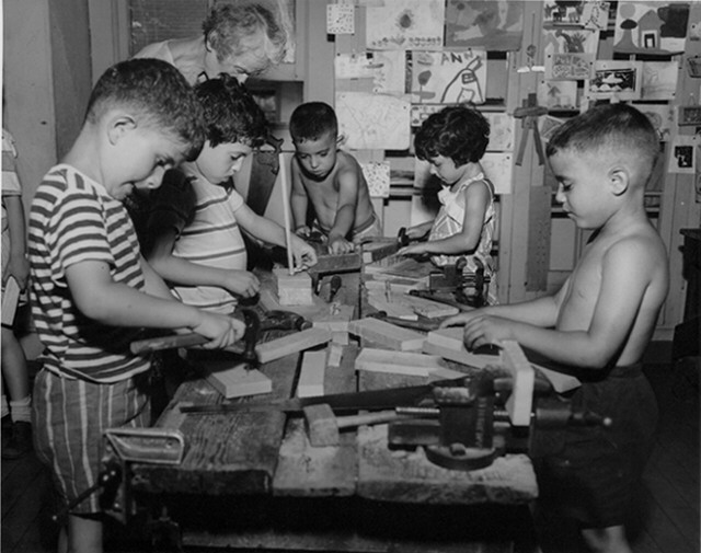 Caption: Wood shop in a Modern School classroom (1950s)., Credit: Modern School Collection, Rutgers University Library.