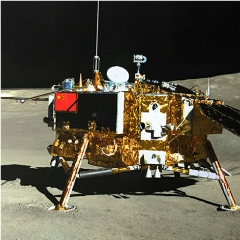 Caption: An image of the Chang'e-4 lander from the Yutu-2 rover, during the mission's first lunar day., Credit: CLEP/CNSA