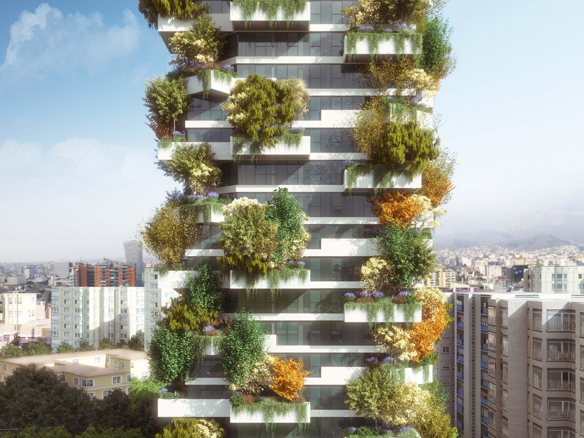Caption: Tirana Vertical Forest designed by Stefano Boeri