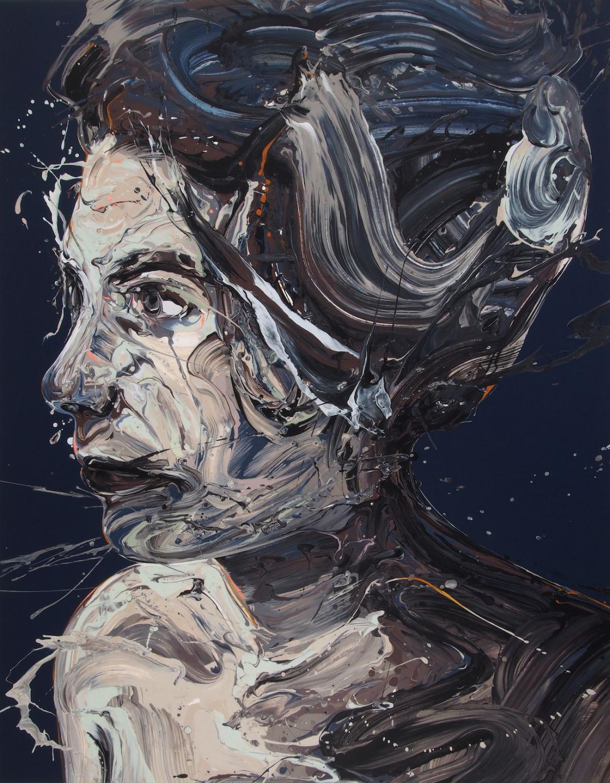"Caption: ""Transcription 49 (She)"", acrylic on canvas, 55"" x 43"", 2018, Credit: Sirpa Särkijärvi"