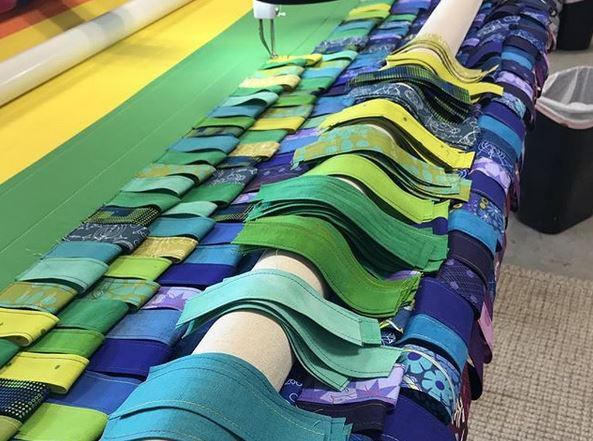 "Caption: ""Shag Quilt"" in progress. Finished quilt at Kruk Gallery ""Quilts are Magic."" by Scott Lunt, Credit: Scott Lunt"