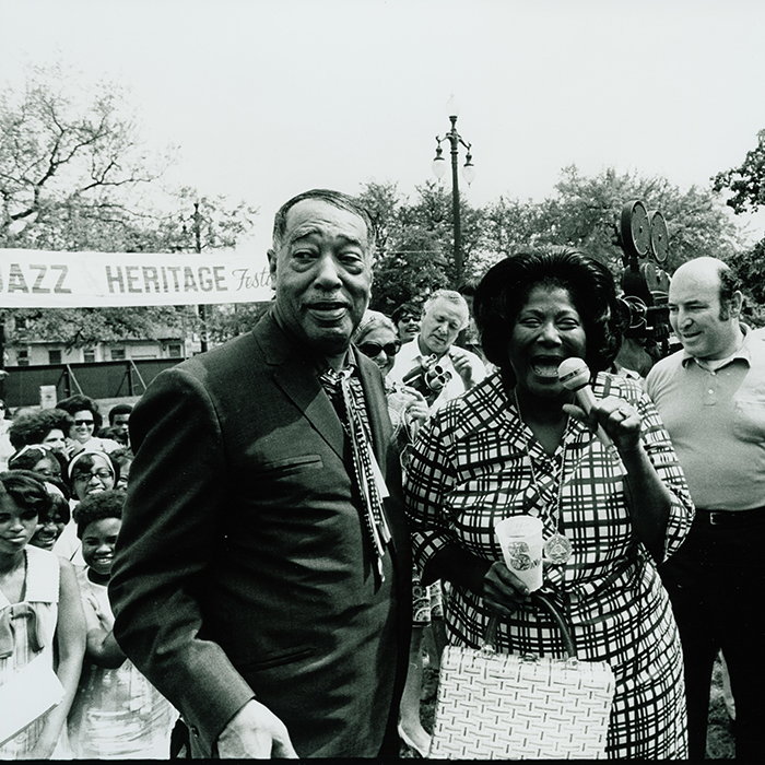 Caption: Duke Ellington and Mahalia Jackson at Jazz Fest 1970, Credit: Photo by Michael P Smith courtesy of The Historic New Orleans Collection