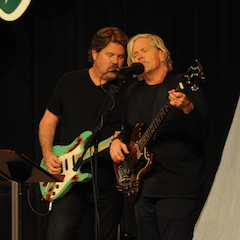 Caption: Ed Toth and John Cowan from Button on the WoodSongs Stage.