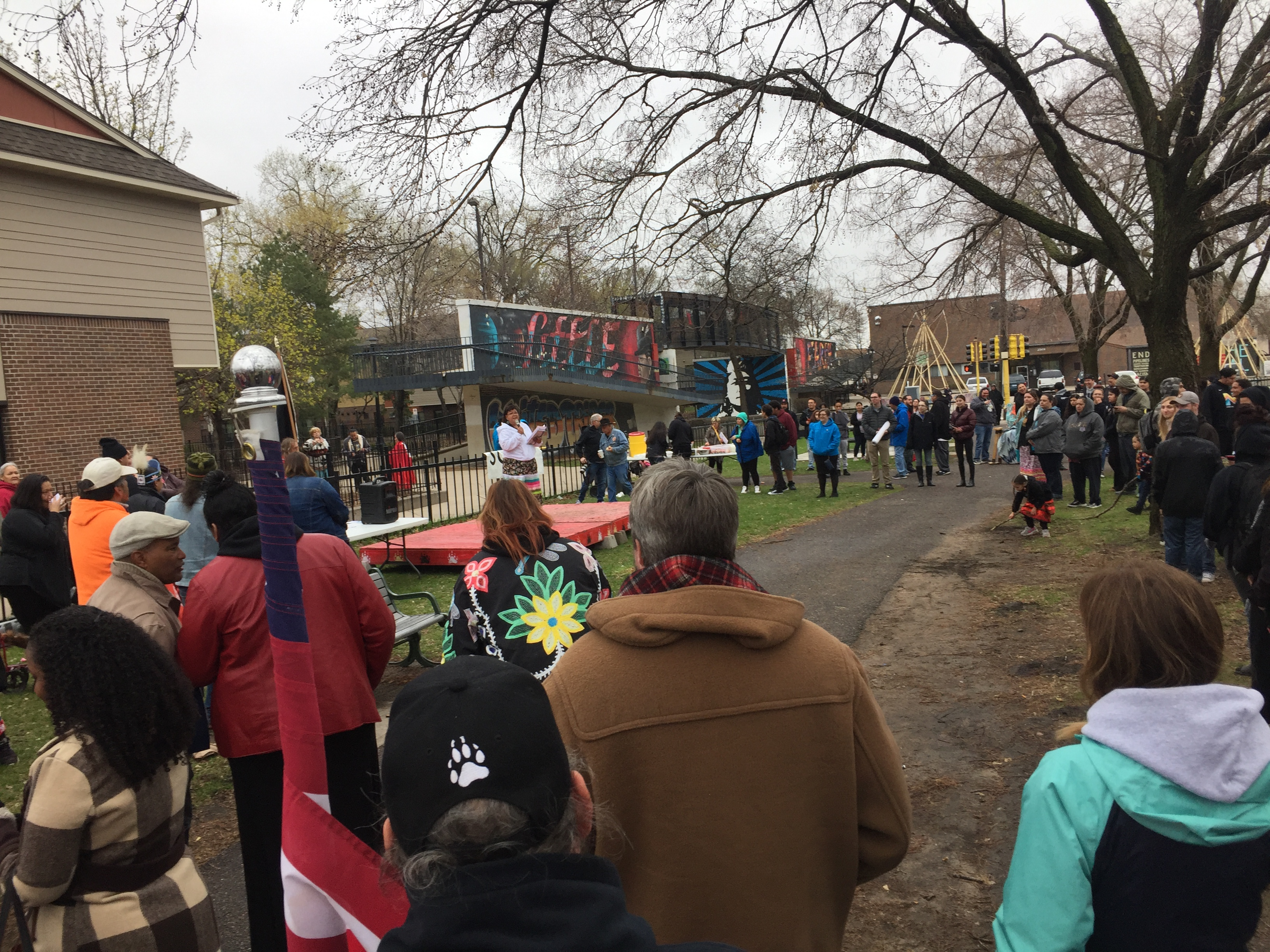 Caption: The crowd listens as the American Indian Month kick off event begins., Credit: Melissa Townsend