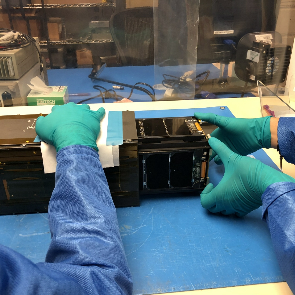 Caption: LightSail 2 in the Cal Poly San Luis Obispo clean room, Credit: Mat Kaplan