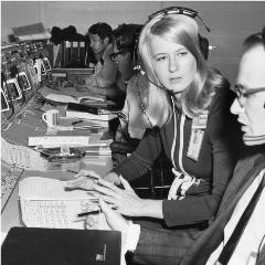Caption: Poppy Northcutt in Apollo Mission Control, circa 1969., Credit: TRW