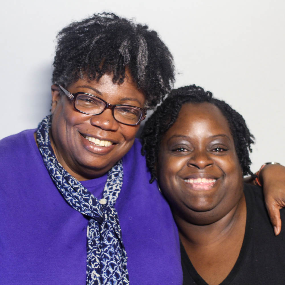 Caption: Kathleen Payne and Corinthia Isom at their StoryCorps interview in New York City, New York on September 29, 2015., Credit: Carolina Escobar for StoryCorps
