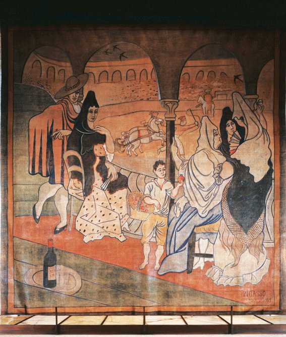 Caption: Pablo Picasso theater curtain for The Three-Cornered Hat, 1919