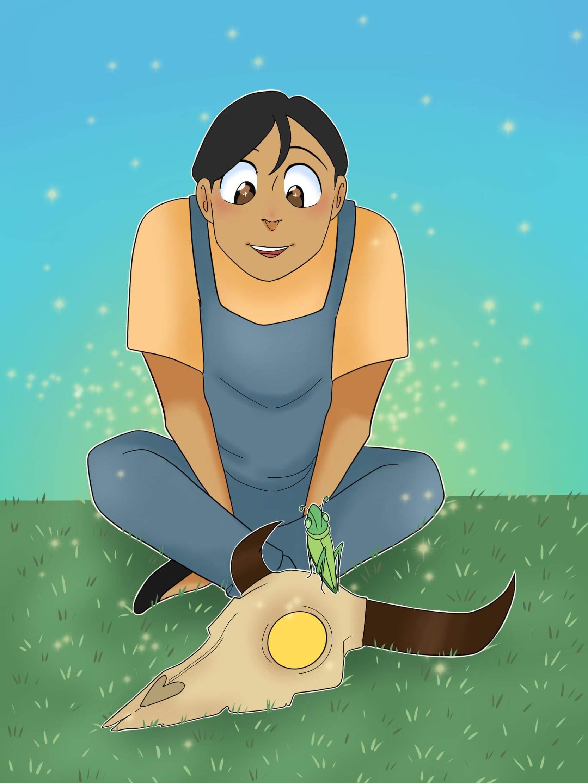 "Caption: Illustration for ""Grasshopper Girl"", Credit: Jordan Rodgers"