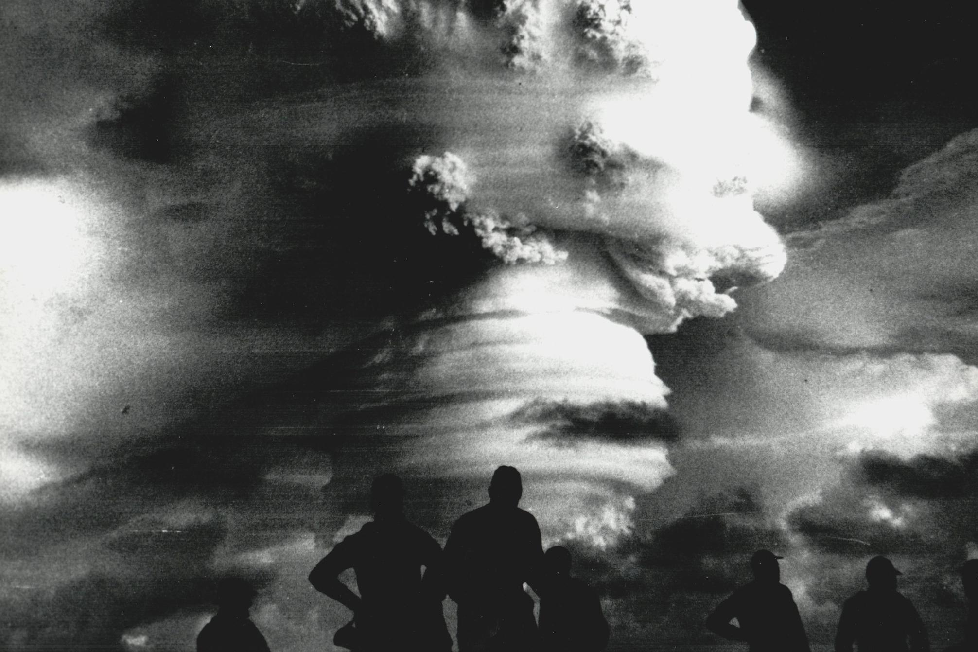 Caption: Observers watch an explosion during Operation Hardtack in 1958. 35 nuclear tests were conducted in the Pacific, exposing troops to radiation., Credit: Nevada National Security Site