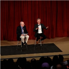 Caption: Planetary Society CEO Bill Nye with host Mat Kaplan during Planetary Radio Live show at Science Museum Oklahoma., Credit: Science Museum Oklahoma
