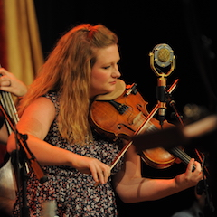 Caption: Newtown's Kati Penn on the WoodSongs Stage.
