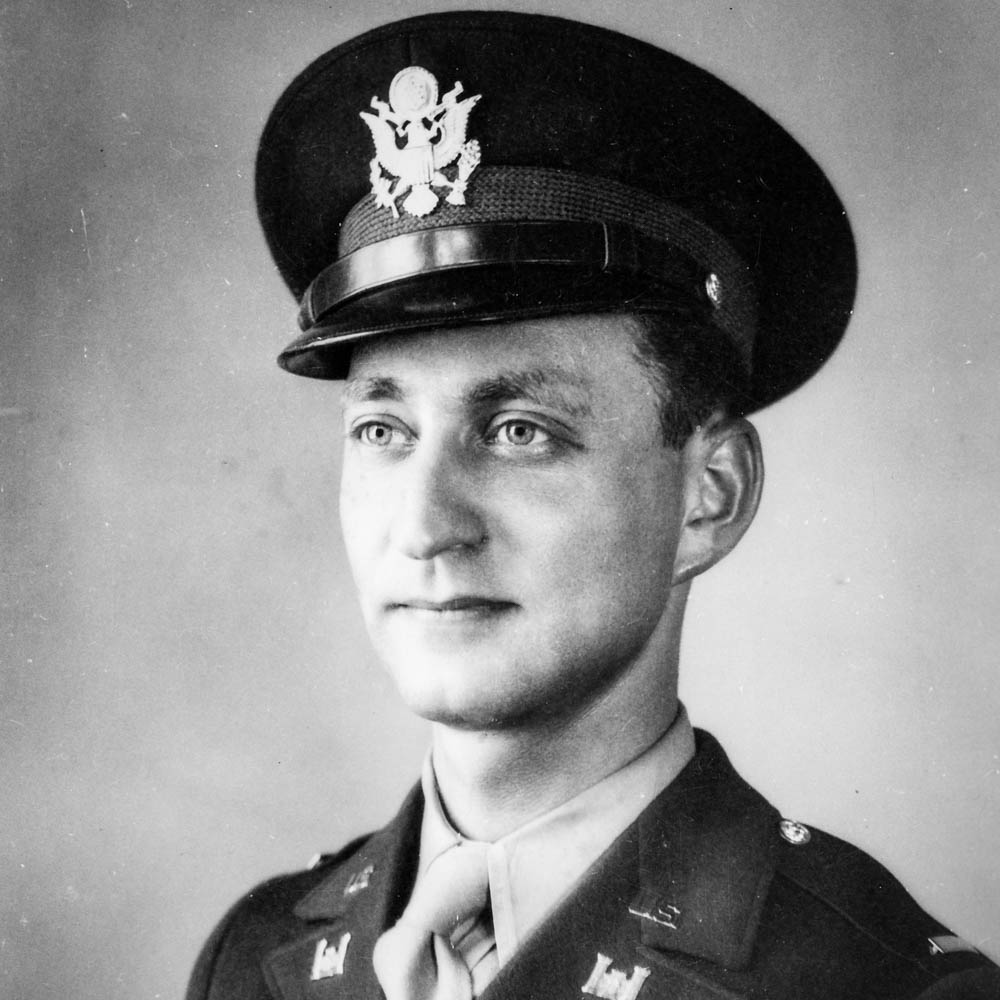 Caption: A young Gilbert Seltzer in uniform in October, 1942, after graduating from Officer Candidate School in Fort Belvoir, VA., Credit: Courtesy Gilbert Seltzer