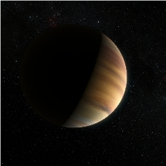 Caption: This artist's view shows the hot Jupiter exoplanet 51 Pegasi b, sometimes referred to as Bellerophon, which orbits a star about 50 light-years from Earth in the northern constellation of Pegasus (The Winged Horse). This was the first exoplanet around a no, Credit: ESO/M. Kornmesser/Nick Risinger