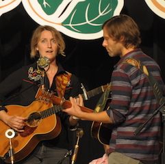 Caption: Joan Shelley with Nathan Salsburg on the WoodSongs Stage.