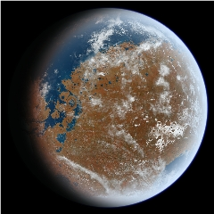 Caption: Artist concept of a very wet, ancient Mars., Credit: Wikimedia Commons