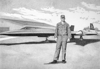 Caption: An artist's rendition of Jack Roderick and the world's fastest plane, Credit: artist: Nick Ladas