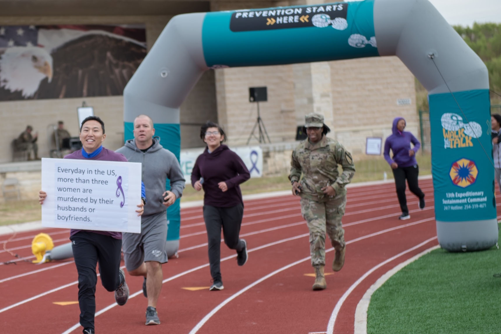 Caption: Runners participate in an Oct. 17 domestic violence awareness event at Ft. Hood, Tex., Credit:  Kelvin Ringold / U.S. Army