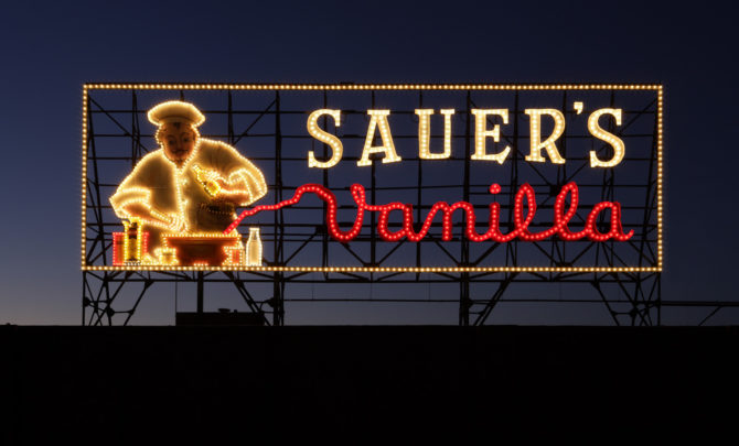 Caption: C.F. Sauer sign,