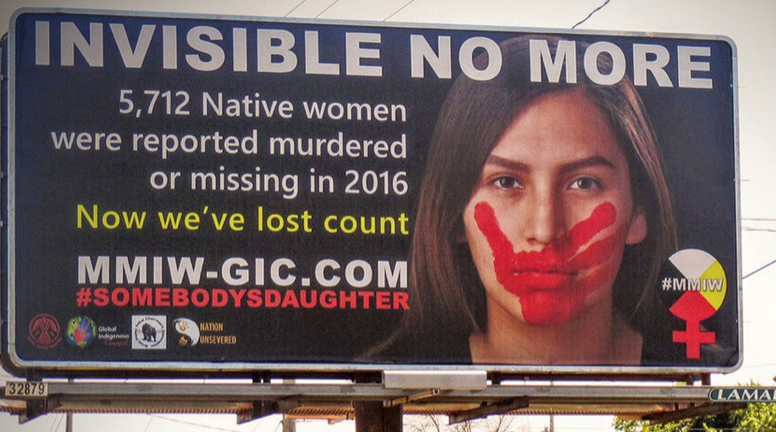 Caption: MMIW Billboards draw attention to the need for change.