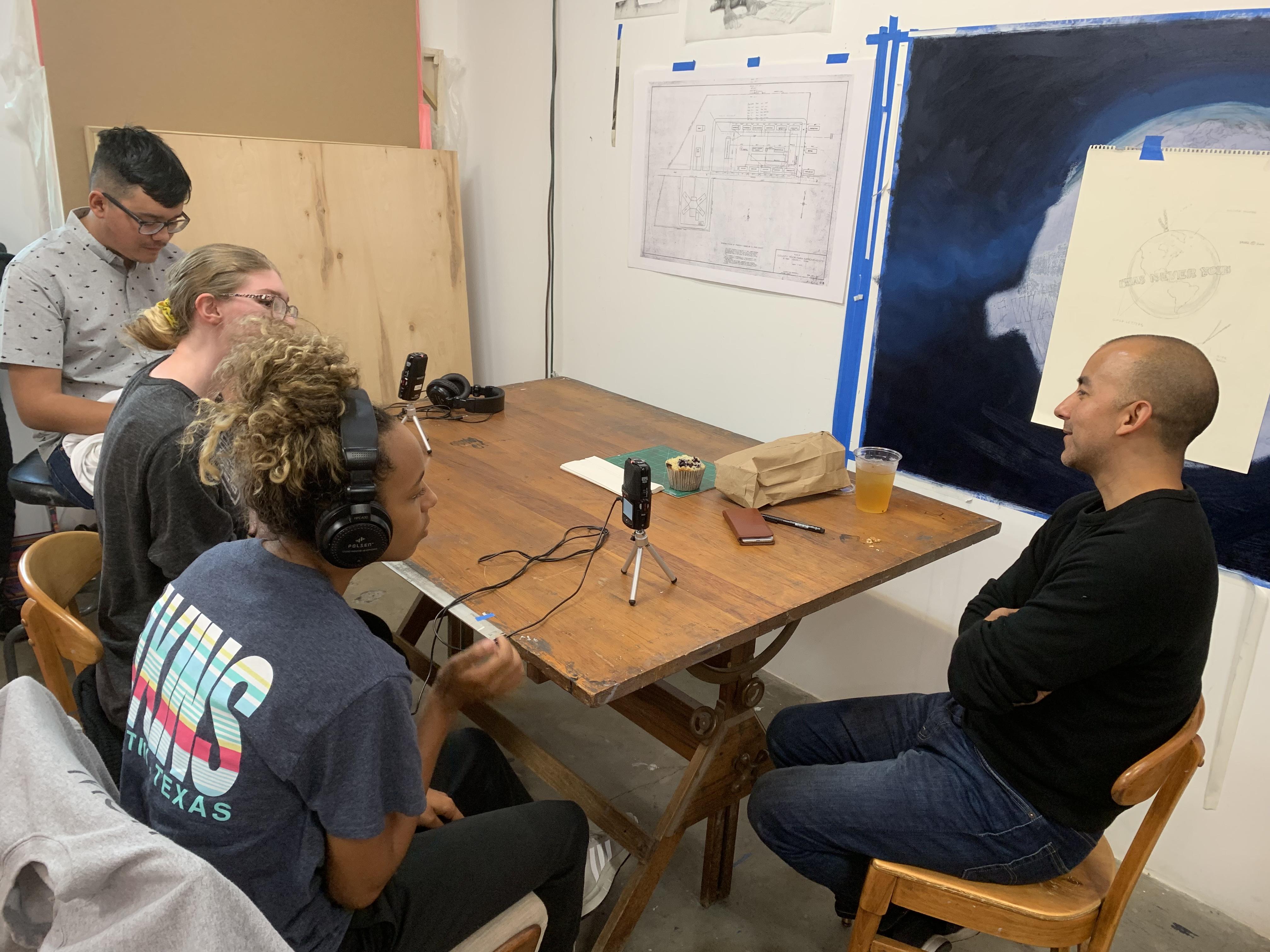 Caption: Vincent Valdez interviewed by Akins High School students, Credit: Texas Folklife