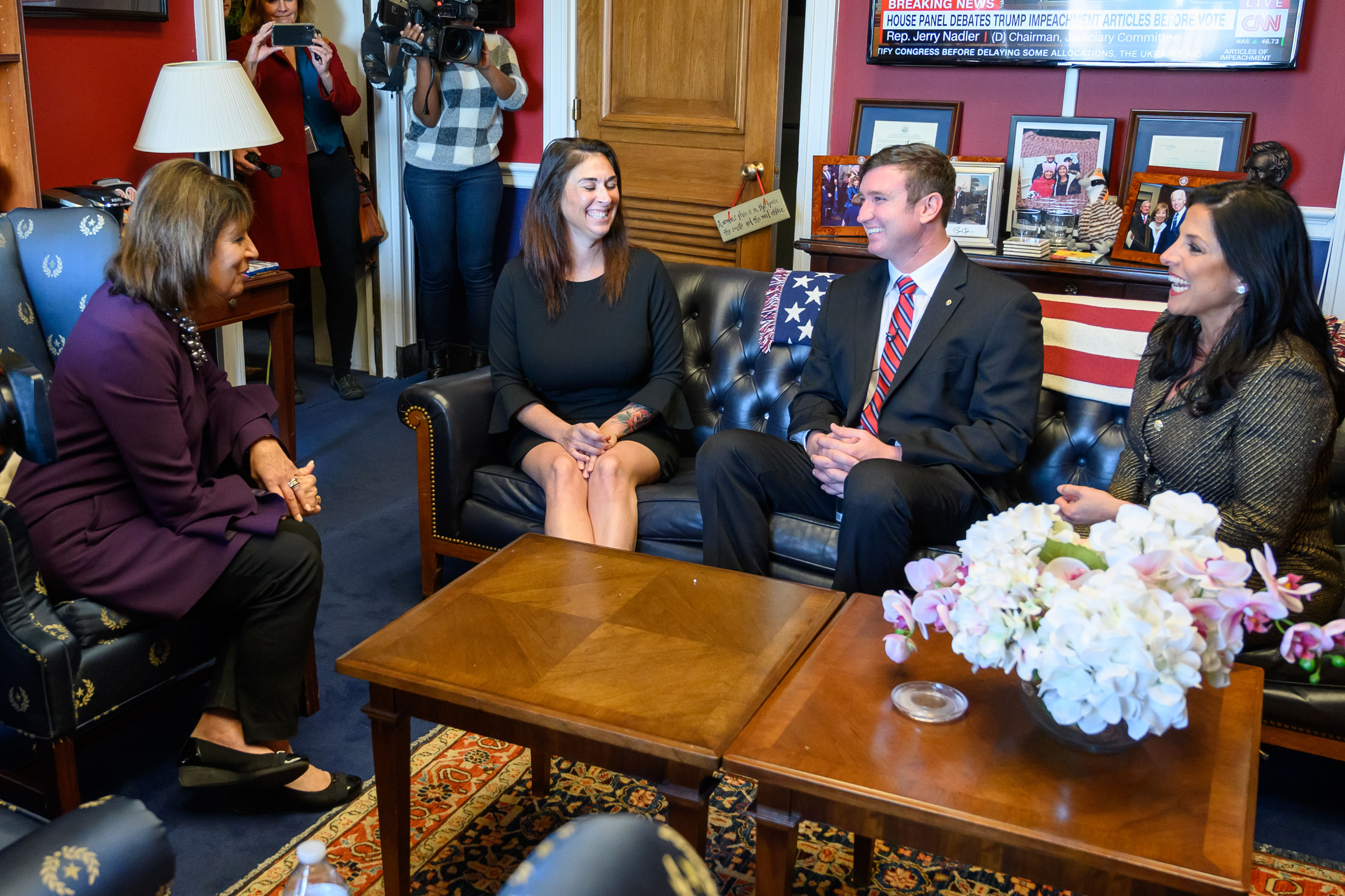 Caption: Congresswoman Jackie Speier, left, meets with Army Sergeant Richard Stayskal, center, his wife, Megan, and his attorney, Natalie Khawam, in Speier's Washington office before an April 2019 subcommittee hearing on the Feres Doctrine., Credit: U.S. House of Representatives