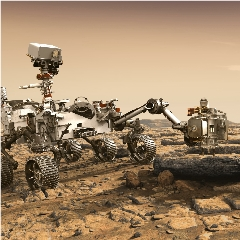 Caption: This artist's rendition depicts NASA's Mars 2020 rover studying a martian rock outrcrop., Credit: NASA/JPL-Caltech
