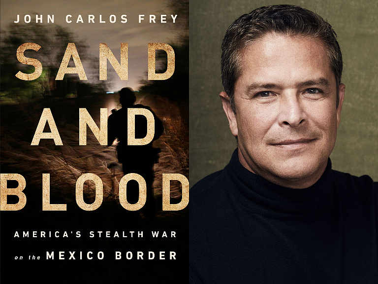 Caption: John Carlos Frey, Sand and Blood, book cover art, Credit: John Carlos Frey