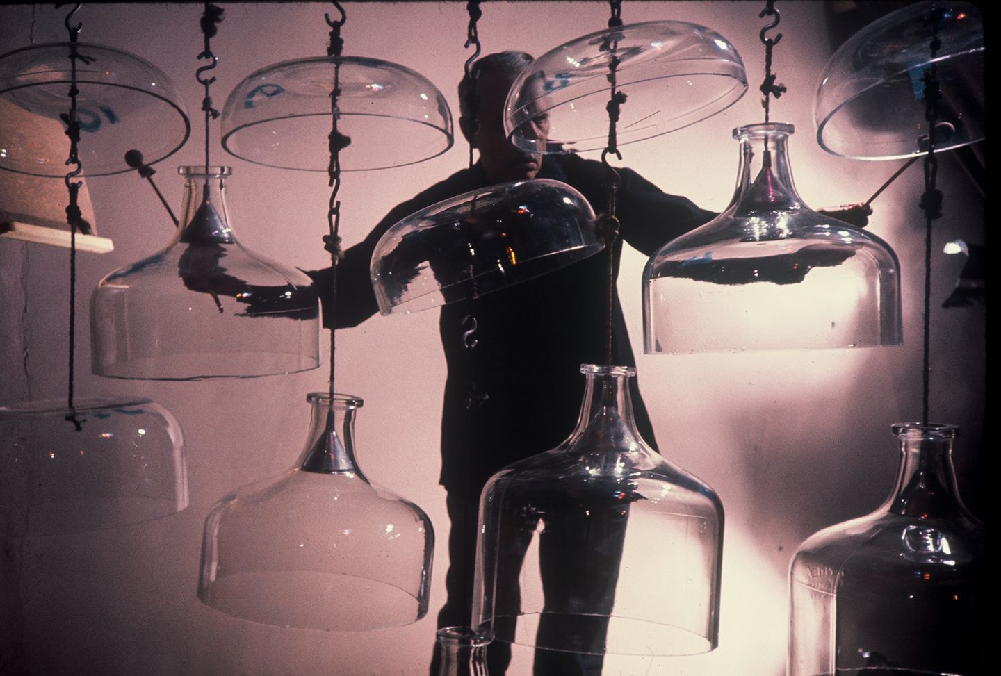Caption: Harry Partch plays the Cloud Chamber Bowls., Credit: Harry Partch Estate