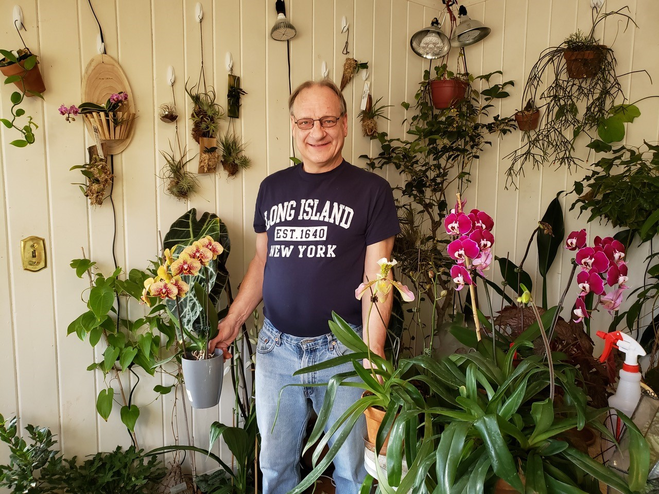 Caption: Photo of Matt in his home orchid collection, Credit: image courtesy of Matt Wichrowski