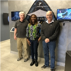 Caption: Astronomers Without Borders founder Mike Simmons, AWB National Coordinator for Nigeria Olayinka Fagbemiro and host Mat Kaplan after their conversation at the Planetary Society, Credit: Mat Kaplan/The Planetary Society