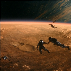 Caption: In a scene from Cosmos, astronauts, untethered and free to explore, make their descent to the moon of a possible world on a pioneering reconnaissance mission., Credit: Cosmos Studios