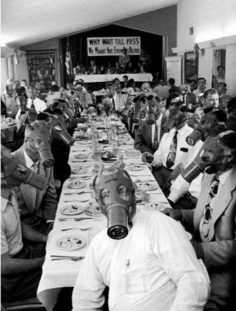 Caption: Safe Social Gathering, Credit: Facemask Meeting 1955