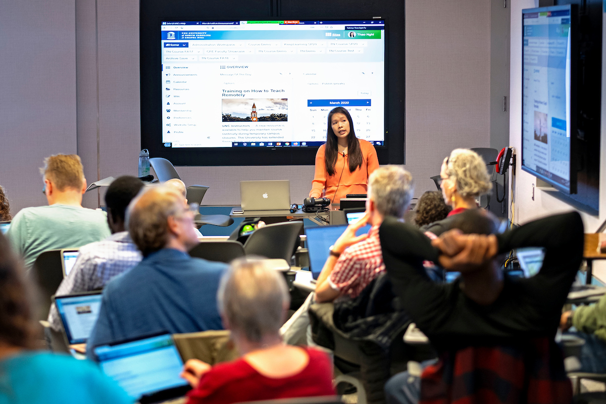 Caption: Faculty at the University of North Carolina-Chapel Hill undergo training March 13 to teach their classes online. The university is one of many that have discontinued in-person classes., Credit: Jon Gardiner / UNC-Chapel Hill