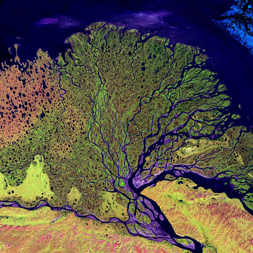 Caption: The Lena River, some 2,800 miles (4,500km) long, is one of the largest rivers in the world. The Lena Delta Reserve, an important refuge and breeding ground for Siberian wildlife, is the most extensive protected wilderness area in Russia. The Lena empties , Credit:  @USGS