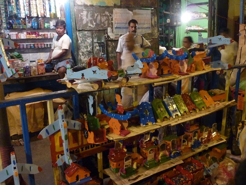Caption: Wooden toys at a past Charak Mela festival, Credit: Sandip Roy