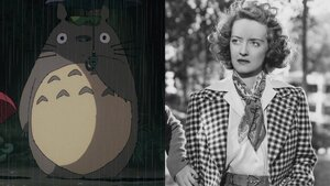 Caption: Hayao Miyazaki's 'Family Time' and Bette Davis in 'Dark Victory'