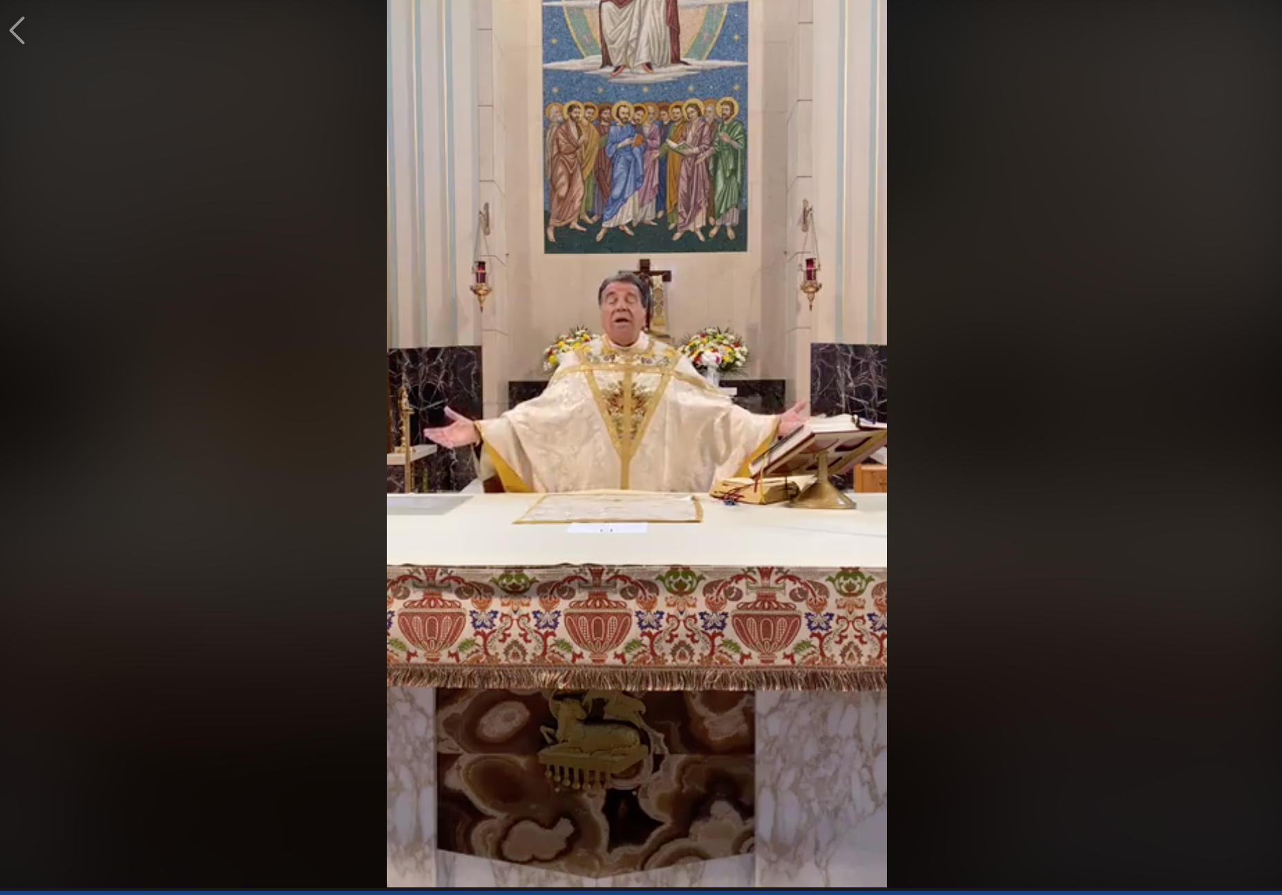 Caption: Monsignor David Cassato Gives Easter Mass on Facebook Live in Brooklyn, NY, Credit: St. Athanasius Facebook Page