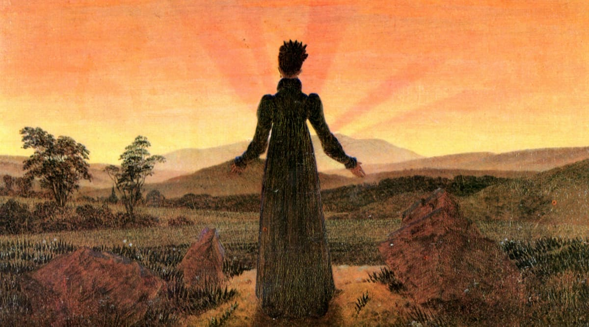 Caption: Woman at Sunset (1818), Caspar David Friedrich
