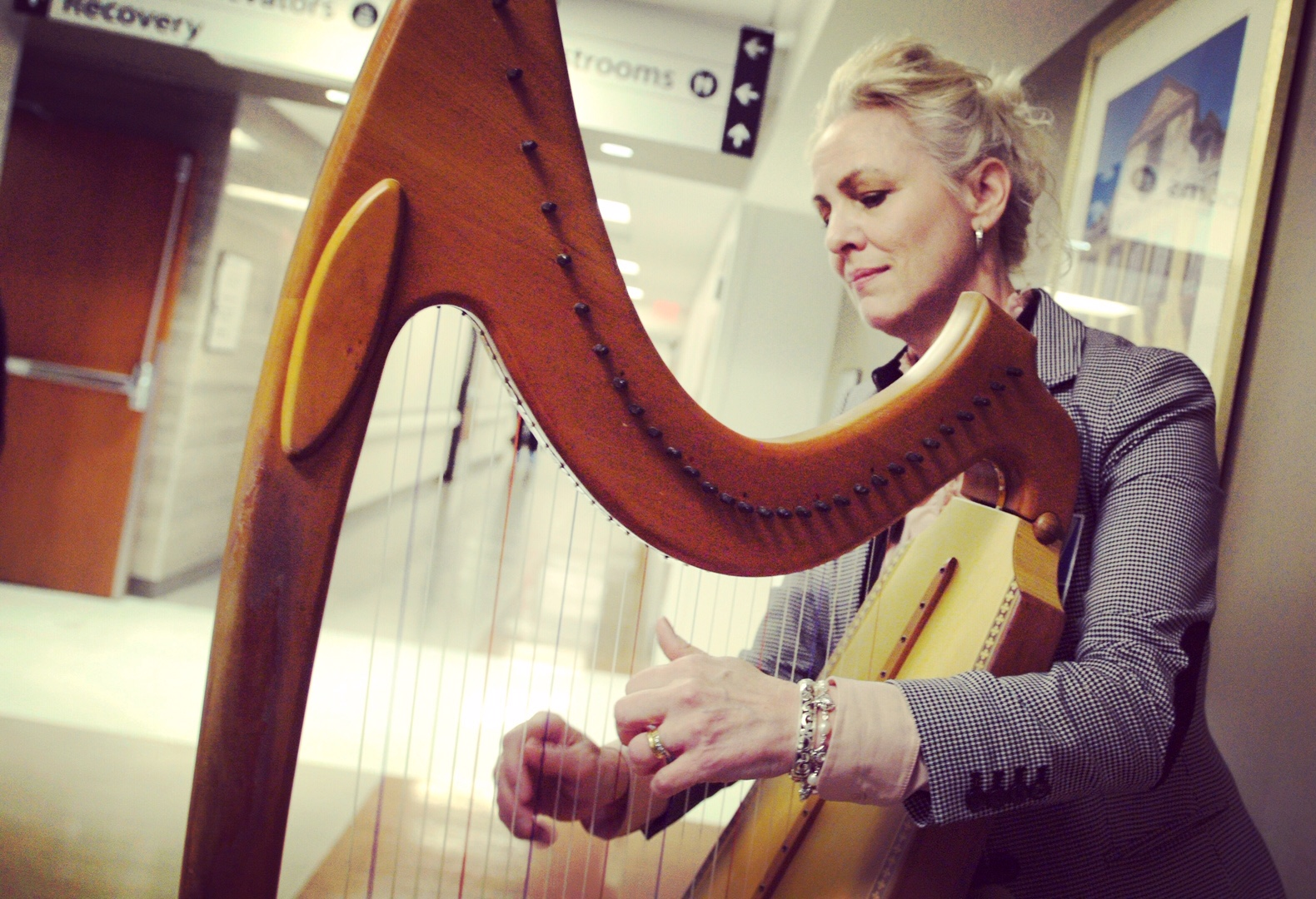 Caption: Harpist/Music Thanatologist Terese Cullen, Credit: photo by Tony Morris 2020