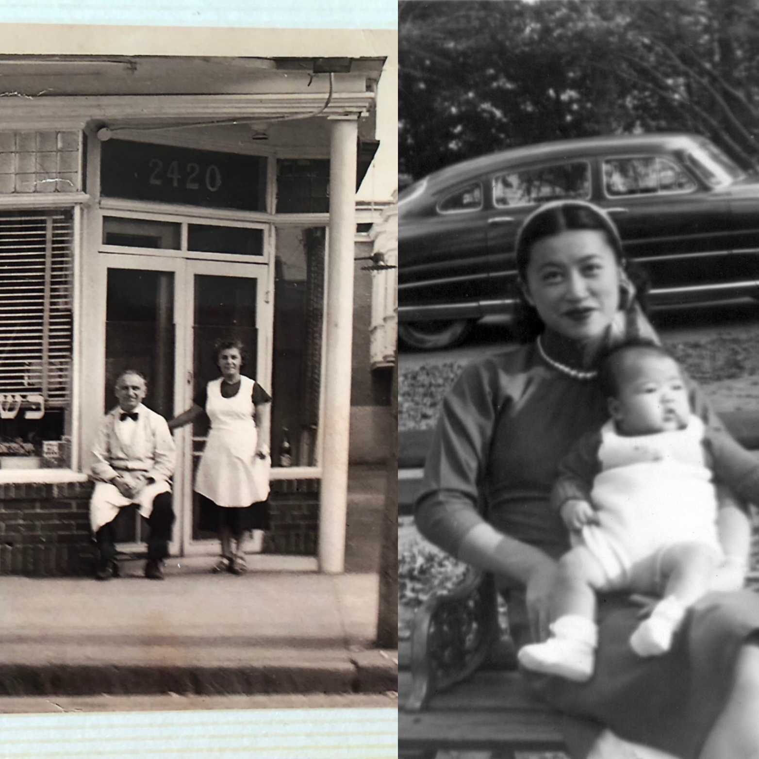 Caption: Left: Wilson Dairy Restaurant Right: Helen Zia as baby with mom
