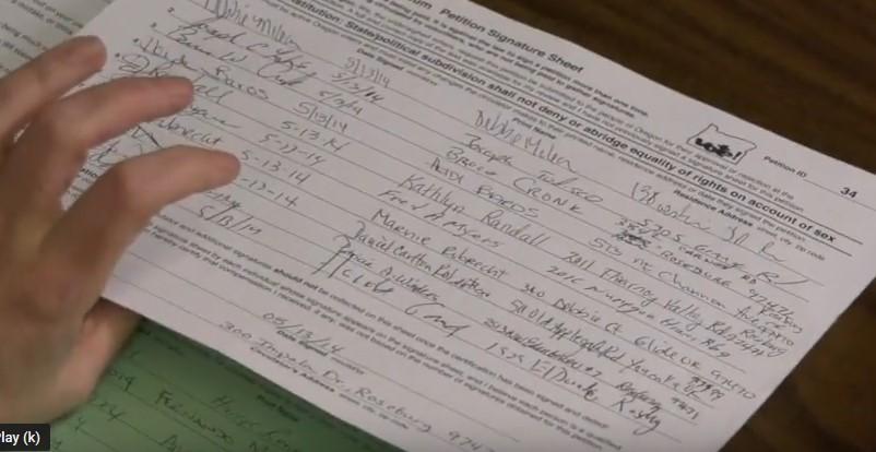 Caption: An Oregon petition signature sheet, Credit: Oregon Secretary of State