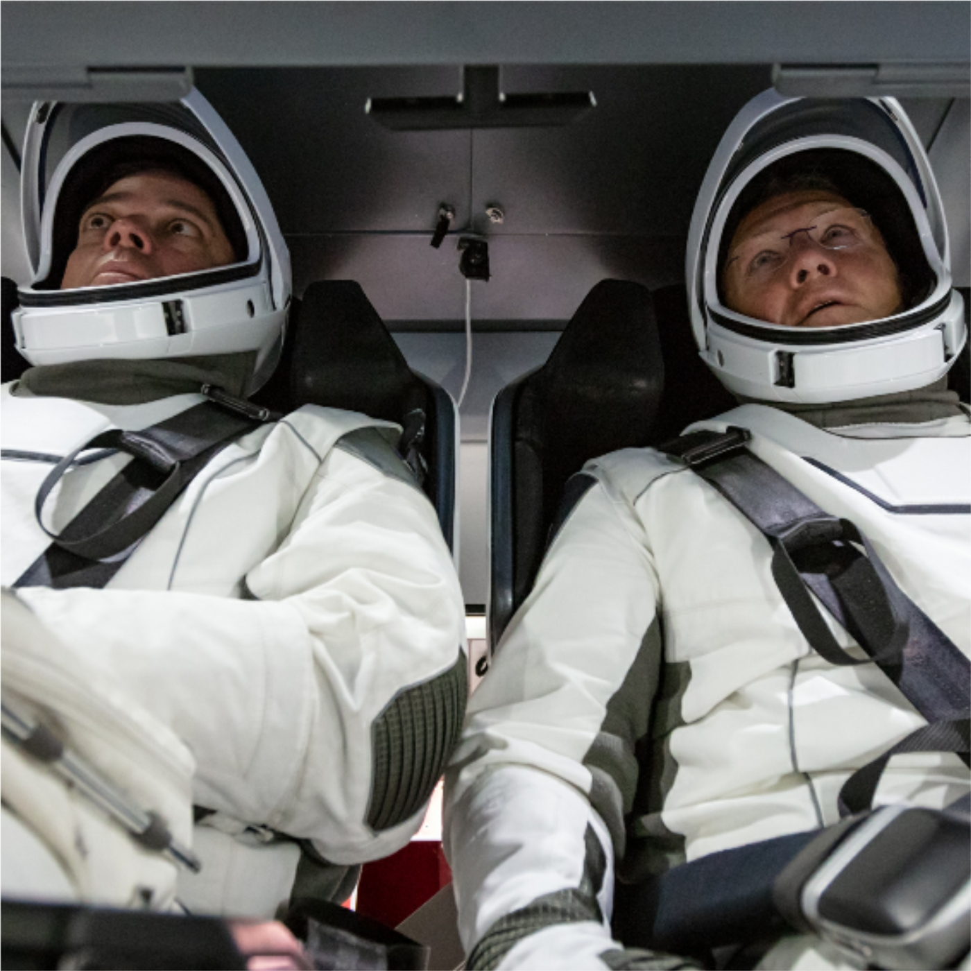 Caption: NASA astronauts Doug Hurley and Bob Behnken familiarize themselves with SpaceX's Crew Dragon, the spacecraft that will transport them to the International Space Station as part of NASA's Commercial Crew Program. , Credit: NASA