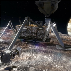 Caption: Artist's concept of a lander on the icy surface of Jupiter's moon Europa., Credit: NASA/JPL-Caltech