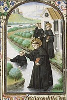 Caption: 'St, Maurus Of Glanfeuil Walking On Water Saves St, Placidius From Drowning', Credit: Jean Fouquet
