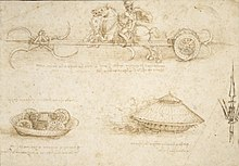 Caption: 'War Vehicles Study', Credit: Leonardo da Vinci