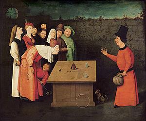 Caption: 'The Conjuror', Credit: Hieronymus Bosch
