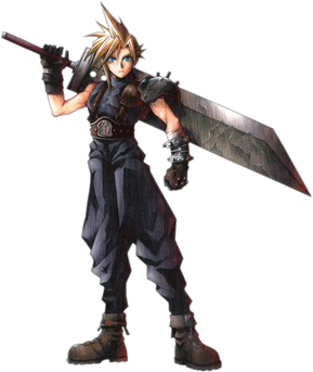 Caption: Concept art by Tetsuya Nomura for the character Cloud Strife from Final Fantasy VII