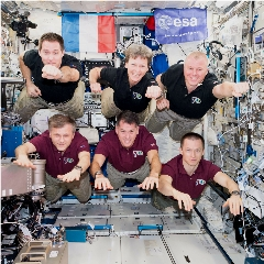 Caption: The Expedition 50 astronauts on board the International Space Station., Credit: NASA